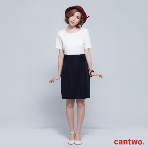 cantwo雙色羅紋短袖洋裝^(共二色^)