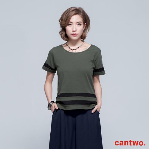 cantwo微透膚跳色線條短袖T恤^(共四色^)