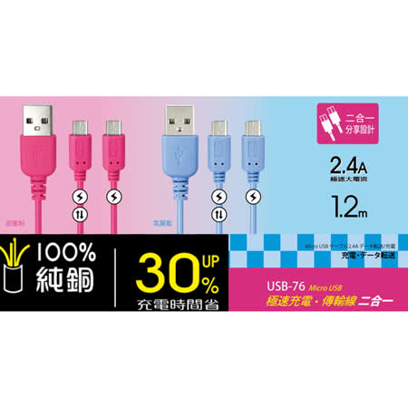 【KINYO】充電可分享Micro USB 極速2.4A充電傳輸線(USB-76)