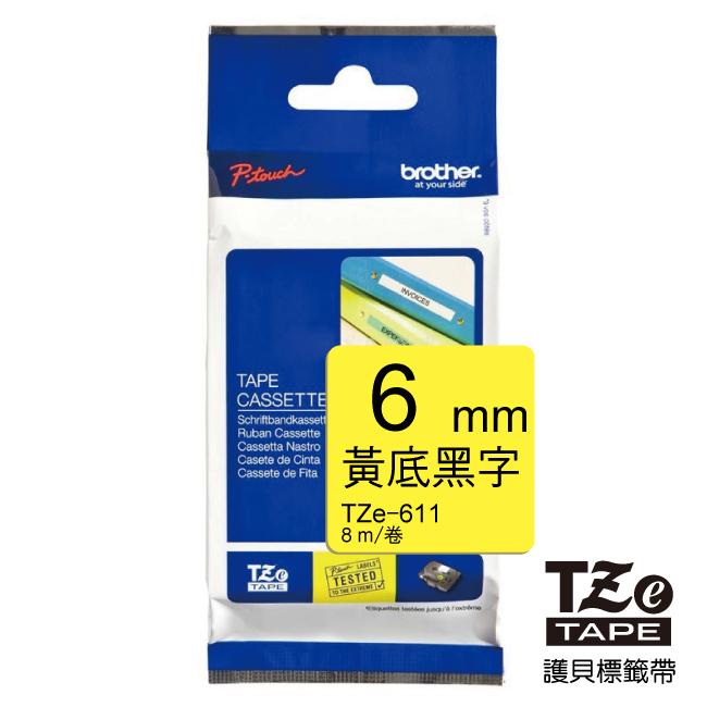 brother  黏性 6mm 黃底黑字 TZ TZe~611 標籤帶