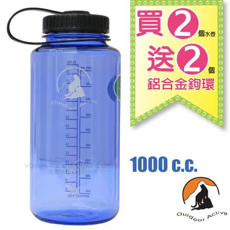 【台灣 山貓-1000cc】美國 LEXAN 環保無毒彩色大寬口水壺(2入/送鋁合金鉤環)運動隨身水瓶/W-1000 寶石藍