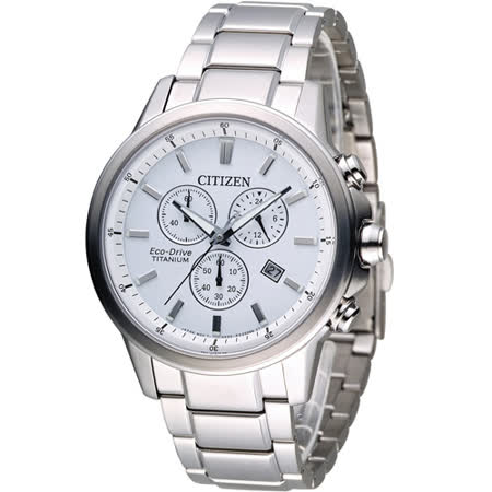 CITIZEN Eco-Drive 鈦金屬計時腕錶 AT2340-81A