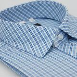 【金安德森】藍色格紋竹纖維窄版短袖襯衫