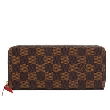 Louis Vuitton LV N60534 Clemence 棋盤格紋拉鍊長夾.橘紅_現貨