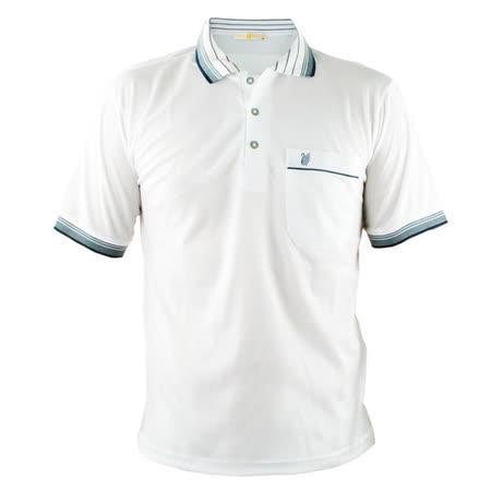 【遊遍天下】 台灣製男款吸濕排汗POLO衫(白 2L-4L) (品特)