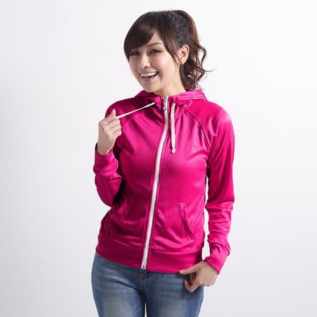 【遊遍天下】 台灣製女款修身吸濕排汗外套 (玫紅L-2L) (品特)