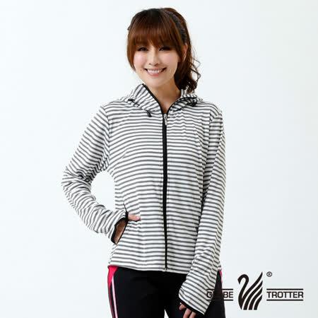 【遊遍天下】 女款台灣製防曬防風吸排機能外套 (灰條 M-2L) (品特)