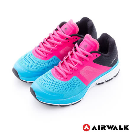 AIRWALK(女) - 穩走太空透氣記憶鞋墊慢跑鞋 - 藍桃黑