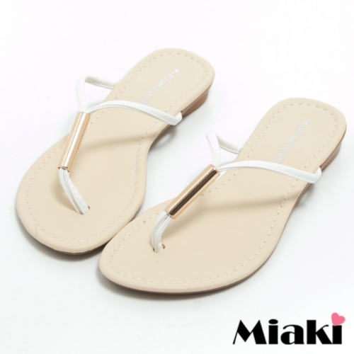 ~Miaki~MIT 拖鞋韓風簡約平底夾腳涼鞋 ^(白色^)