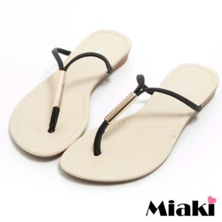 【Miaki】MIT 拖鞋韓風簡約平底夾腳涼鞋 (黑色)