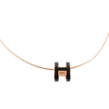 HERMES 時尚配件經典H LOGO橢圓銀飾項鍊.玫瑰金/黑