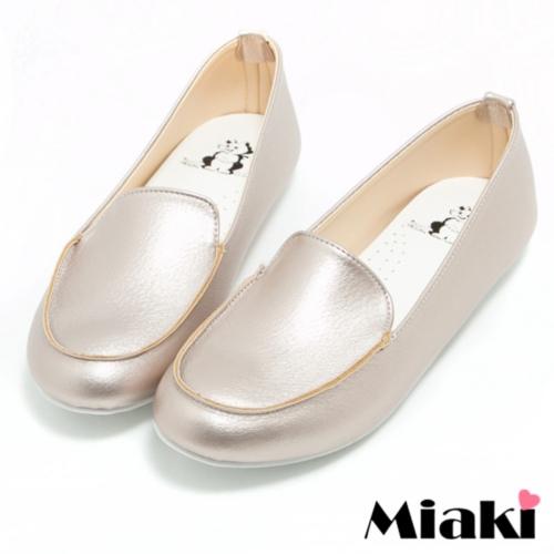 ~Miaki~MIT 休閒鞋 平底樂福包鞋 ^(金色^)