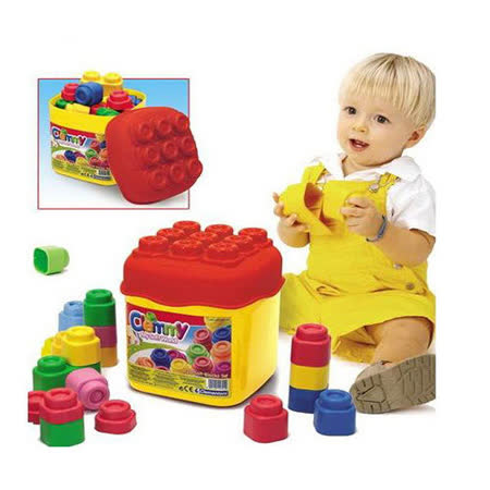 Clemmy軟質積木- 20PCS正色桶裝~隨機贈送ST安全蔬果切切樂OR蛋糕組