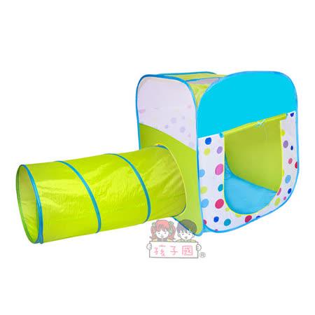 【孩子國】繽紛四角帳蓬摺疊球屋附隧道+100球(綠)