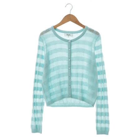 beartwo 格紋感針織外套-淺藍