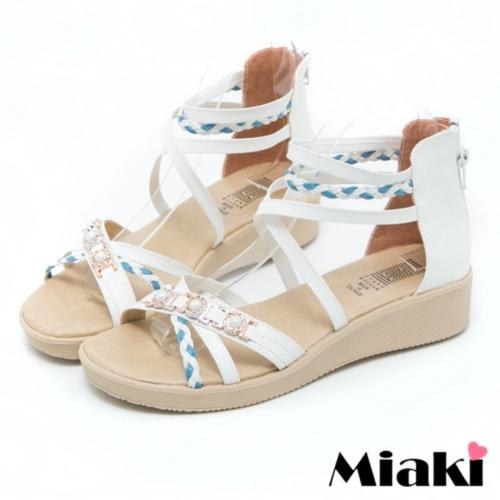 ~Miaki~MIT 涼鞋洋溢春情露趾平底涼拖 ^(白色^)