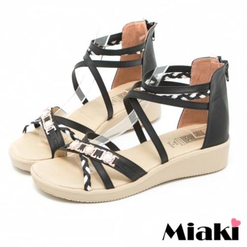 ~Miaki~MIT 涼鞋洋溢春情露趾平底涼拖 ^(黑色^)