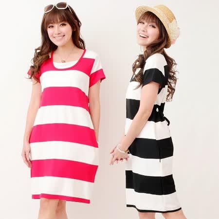 【時尚媽咪】韓風寬條紋後綁帶洋裝(共二色)