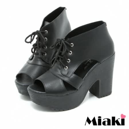 【Miaki】MIT 涼鞋韓風限定粗跟楔型高跟鞋 (黑色)