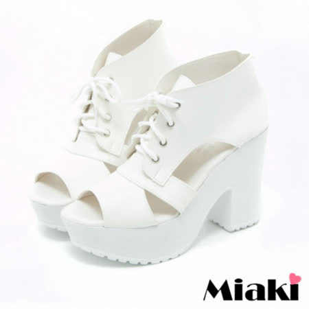 【Miaki】MIT 涼鞋韓風限定粗跟楔型高跟鞋 (白色)