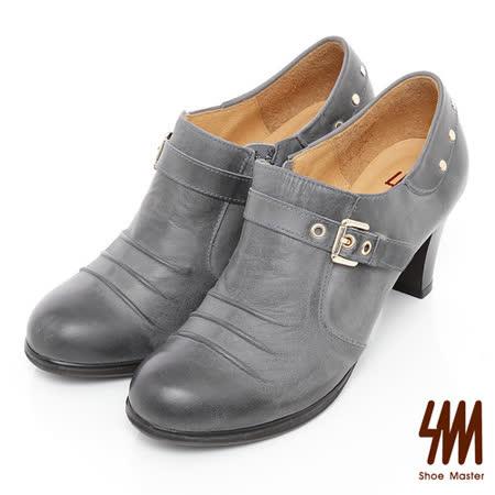 SM-台灣製全真皮-金屬鉚釘個性孟克鞋-灰色