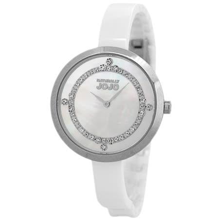 NATURALLY JOJO 優柔幻境晶鑽陶瓷錶-銀框x白