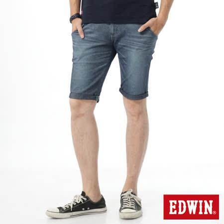 EDWIN 大尺碼 迦績褲涼爽PK牛仔短褲-男-石洗藍