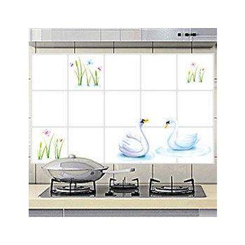 窩自在 廚房清潔高檔鋁箔防油貼紙防油牆貼-天鵝湖畔 (45X75)
