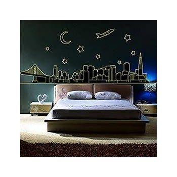 窩自在 DIY無痕創意牆貼壁貼-城市夜景_ABQ9601 (60X90)
