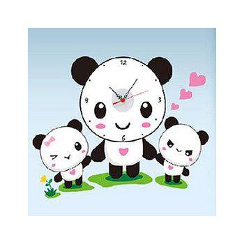 窩自在 韓版DIY創意壁貼時鐘-熊貓好朋友(附靜音機芯) (44X58)