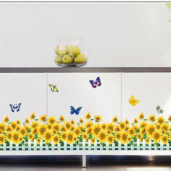 窩自在 DIY無痕創意牆貼/壁貼-向日葵蝴蝶_AY7210 (50X70)