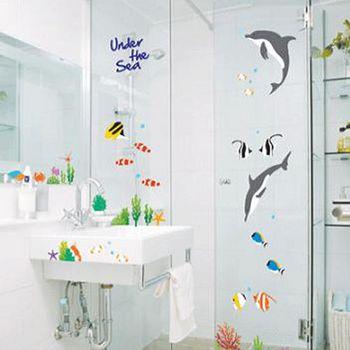 窩自在 DIY無痕創意牆貼/壁貼-海豚熱帶魚_AY752 (50X70)