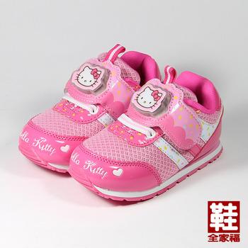 (中童) HELLO KITTY 黏帶電燈運動鞋 桃 鞋全家福