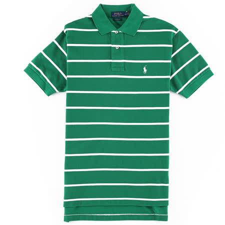 Ralph Lauren 經典小馬寬橫紋男POLO衫(綠白)
