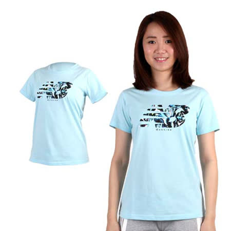 (女) NEWBALANCE 短袖T恤-NB 短T 棉T 慢跑 路跑 淺藍