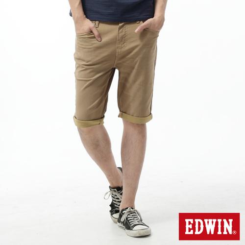 EDWIN 迦績褲 舒適短色褲~男~淺卡其