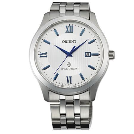 東方錶 ORIENT 時尚風情羅馬簡約不銹鋼帶男用腕錶-40mm/FUNE7008W