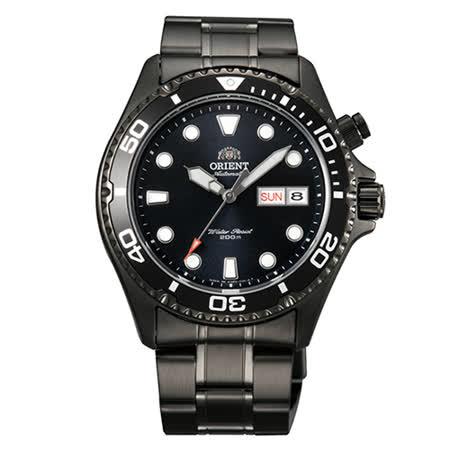 ORIENT 東方錶 黑色艦艇時尚潛水腕錶錶-黑鋼帶款/41mm/FEM65007B
