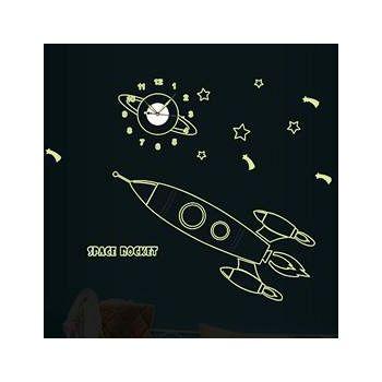 窩自在 韓版DIY創意雙拼壁貼時鐘-夜光火箭(附靜音機芯) (30X90)