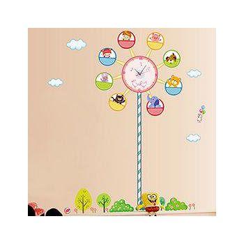窩自在 韓版DIY創意雙拼壁貼時鐘-快樂摩天輪(附靜音機芯) (30X90)