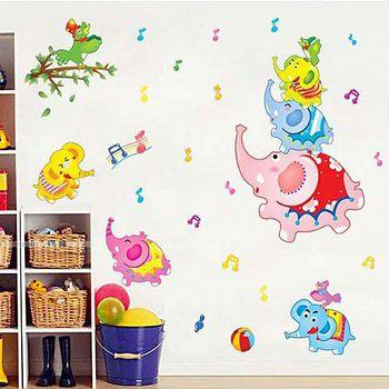 窩自在 DIY無痕創意牆貼/壁貼-小象音樂盒_AY7181 (50X70)