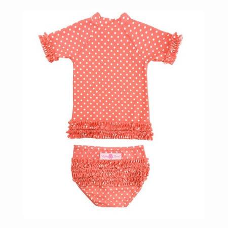 美國 RuffleButts 小女童比基尼泳裝_橘色白點點(RBSW07-13)