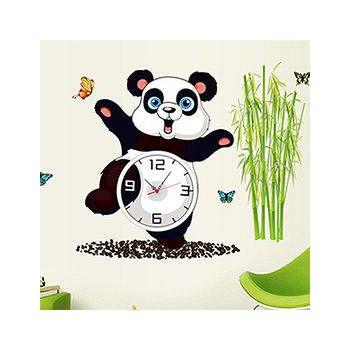 窩自在 韓版DIY創意雙拼壁貼時鐘-竹林熊貓(附靜音機芯) (30X90)