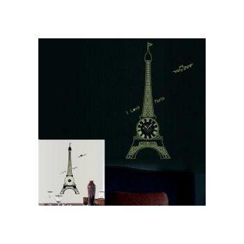 窩自在 韓版DIY創意雙拼壁貼時鐘-夜光巴黎鐵塔(附靜音機芯) (30X90)