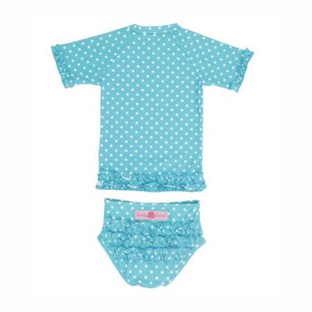 美國 RuffleButts 小女童比基尼泳裝_水藍白點點(RBSW07-14)