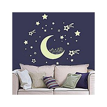窩自在 新款夜光造型壁貼-月亮城市_Y0016(20X40) (20X40)