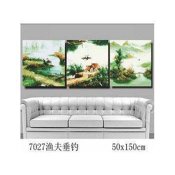 窩自在 DIY數字油畫炫金三拼高手系列-漁夫垂釣 (50X50)