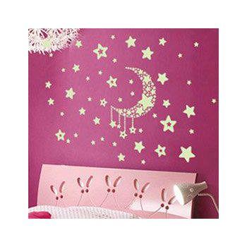 窩自在 新款夜光造型壁貼-星星月亮_Y0015(20X40) (20X40)