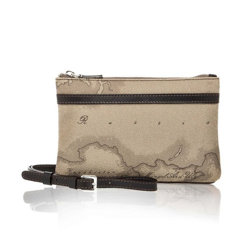 Alviero Martini 義大利地圖包 拉鍊隨身小側背包(小)-地圖灰