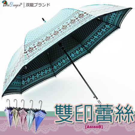 【雙龍牌】洛可可雙面圖案蕾絲宮廷傘(孔雀藍下標區)防曬降溫黑膠自動傘超輕量陽傘貴婦傘A6160B